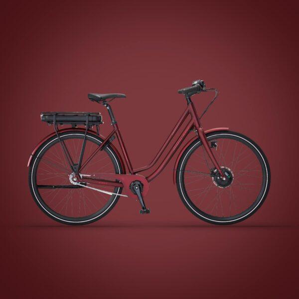 Via Forhjulsmotor dame elcykel i bourgogne/mat